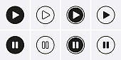 Play and Paus Icons set