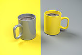 Two pots of freshly brewed coffee in the colors of the year 2021 Illuminated Yellow and Ultimate Gray. Both colors also used on the split surface area.