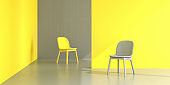 Color of the year concept: 2021 colors of the year Illuminated yellow and Ultimate grey in a setting with two chairs, direct sun and walls