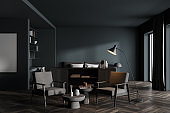Grey bedroom interior with armchairs and bed on wooden floor, mockup poster
