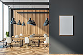 Wooden office coworking interior with minimalist furniture, mockup poster