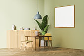 Light living room interior with armchairs and table, mockup poster
