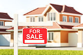 Family house for sale, red sign in front of blurred modern big building on grass