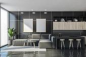 Dark kitchen set interior with shelves and furniture, mockup poster