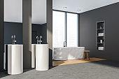 Bathroom interior with two sinks, bathtub on concrete floor and shelf