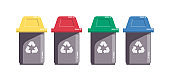 Colored sorting recycling waste bins isolated