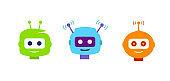 Set Cute cartoon robots. Robot head avatar to chatbot.