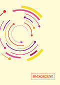 Abstract background with color circle line on yellow