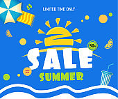 Bright Sale banner template blue design with summer sun. Text sale Summer,