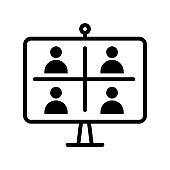 Video Call flat line icon. Vector outline illustration of Online meeting icons, work form home, social distancing, video conference. Black color thin linear sign for store, can be used in logo, UI and web design