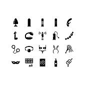 Sex shop line icons set. Adult toys, dildo, bdsm handcuffs, vibrator vector illustrations. Outline pictogram for sexshop, website, flyers and advertising
