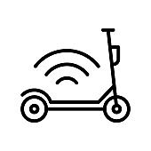 Kick scooter and electric scooter flat line icon. Rental, mobile app, eco transport simple vector illustration. Outline sign for mobile concept and web design, store, logo