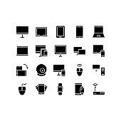 Gadgets and electronic devices flat line icons set. Computer, Tablet, Phone, Monitor, Laptop. Simple flat vector illustration for store, web site or mobile app