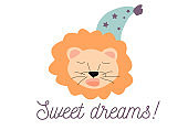Cute childish illustration with text Pretty lion vector clip art on white background for invitations, posters, etc