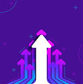 Bright Abstract purple background with white arrows on dark backdrop.