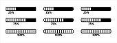 Loading bar icon set. Loading process bar vector icons set. Data load buffering bar slider vector illustration. Download progress. Loading status.