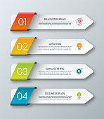 Arrow infographic template. 4 steps. Origami style. Vector banner