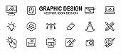 Graphic visual design related vector icon user interface graphic design. Contains such icons as computer, mouse, pen tablet, laptop, idea, light bulb, anchor, handle, eraser, pencil, ruler, photo