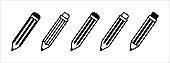 Pencil cute icon set. Crayon pen vector illustration
