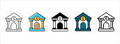 Bank building icon vector set. Bank front building illustration icon set. Money exchange, financial, save, and loan symbol.