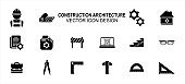 Construction architecture related vector icon user interface graphic design. Contains such icons as worker, labor, blueprint, gear, setting symbol, construction file, laptop, bag, ruler, triangle