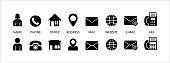 Set of contact vector icon. Business card contact icon set. Contains icon such as person, phone, office, address, fax machine, website and more