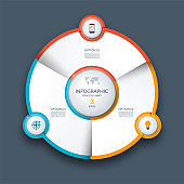 Infographic circle, process chart, cycle diagram. 3 steps. Vector template for business presentation, report, brochure.