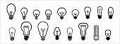 Lightbulb vector icon set. Light bulb symbol of idea and innovation. Lamp icon vector illustration
