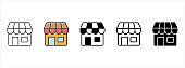 Online store shop icon set. Website store shop icons vector set.