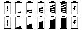 Battery capacity bar charging icon set. Battery charge level icons. Vector stock illustration