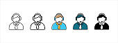 Customer service call center icon set. Help center call operator icons. Receptionist icon vector illustration.