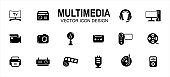 multimedia player and entertainment related vector icon user interface graphic design. Contains such icons as television, radio, headset, computer, desktop, camera, video, recorder, deck cassette,