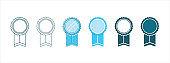 medal rosette vector icon set. medal award emblem vector illustration