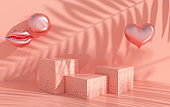 3d rendered colorful foil balloons, hearts, podium on the floor. Set of platforms for product presentation, mock up background. Minimal design, birthday party, Valentine`s day, presentation. pastel colors