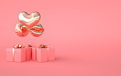 3d render illustration of foil gold glossy heart balloon, gift box with golden bow on pink background. Valentine's Day romantic elegant 14 february card. Empty space for party, promotion social media banners, posters.