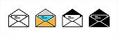 Mail icon set. Message envelope vector icons set. Stock vector illustration
