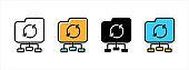 Folder data network icon. Data center access network icons vector set.