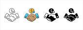 Handshake icon set. Handshake symbol of money business deal vector illustration.