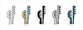 Hair comb vector icon set. Hairdresser salon groomer kit illustration.