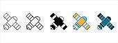 Satellite icon set. Telecommunication satellite vector illustration. Satellite technology global positioning system symbol