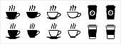 Coffee cup icon set. Hot drink cup icons vector set. Assorted cup with coaster vector stock illustration