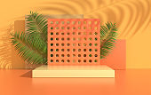 3d rendered studio with geometric shapes, podium on the floor. Platforms for product presentation, mock up background. Abstract composition in minimal design, tropic palm leaves shadow