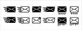 Sending message mail and e-mail envelope vector icon set. Mail delivery progress illustration. Basic flat design mail envelope illustration.