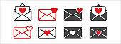 Love message mail envelope vector icon set. Basic flat design favorite mail envelope illustration. Love Letter inside an opened envelope mail.