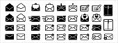 Message mail icon vector set. E-mail envelope icon illustration pack. Inbox, sending, opened, received, texting, write, favorite, love, sent, delivered, download of mail sign symbol.