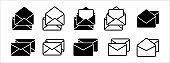 Stacked message mail envelope vector icon set. Basic flat design stack mail envelope illustration. Letter inside an opened envelope mail.