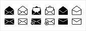 Message mail and e-mail envelope vector icon set. Basic flat design mail envelope illustration.