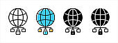 Worldwide data network icon set. Globe data storage security vector icons for web design.