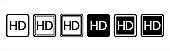 High definition video sign icon, HD screen monitor symbol icons set. Label and sign sticker.