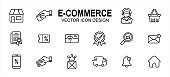 Simple Set of e-commerce online shop Related Vector icon user interface graphic design. Contains such Icons as gift box, payment, credit, marketplace, front shop, payment, basket, certified, discount